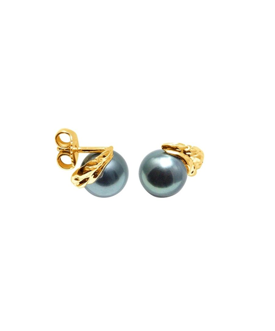 Image for Black Tahitian Pearls Earrings and yellow gold 750/1000