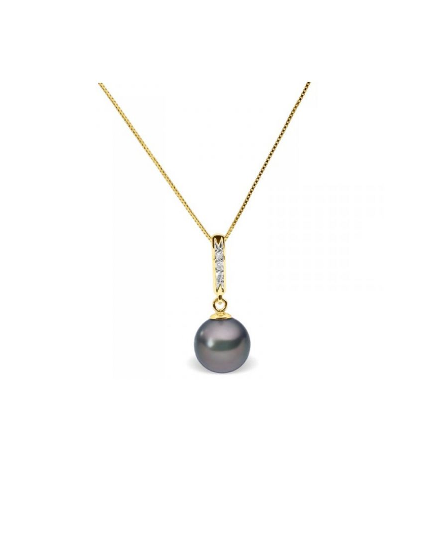 Image for Black Freshwater Pearl and Diamonds Pendant and Yellow Gold 375/1000
