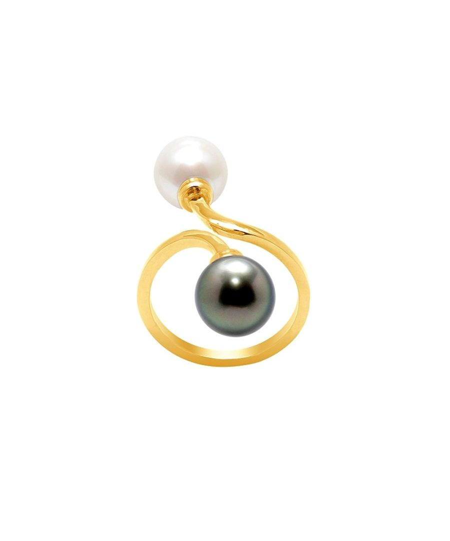 Image for White Pearl and Black Tahitian Pearl Ring and Yellow Gold 750/1000