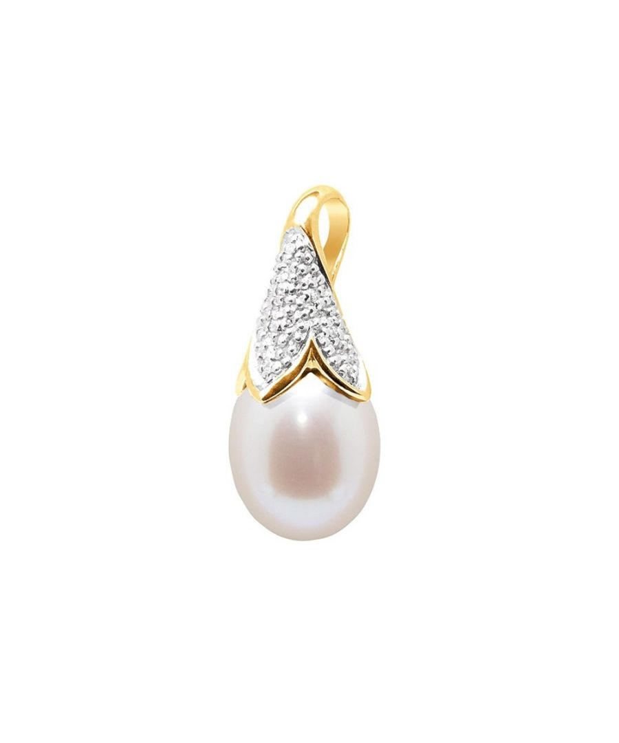 Image for White Freshwater Pearl, Diamonds Pendant and Yellow Gold 750/1000