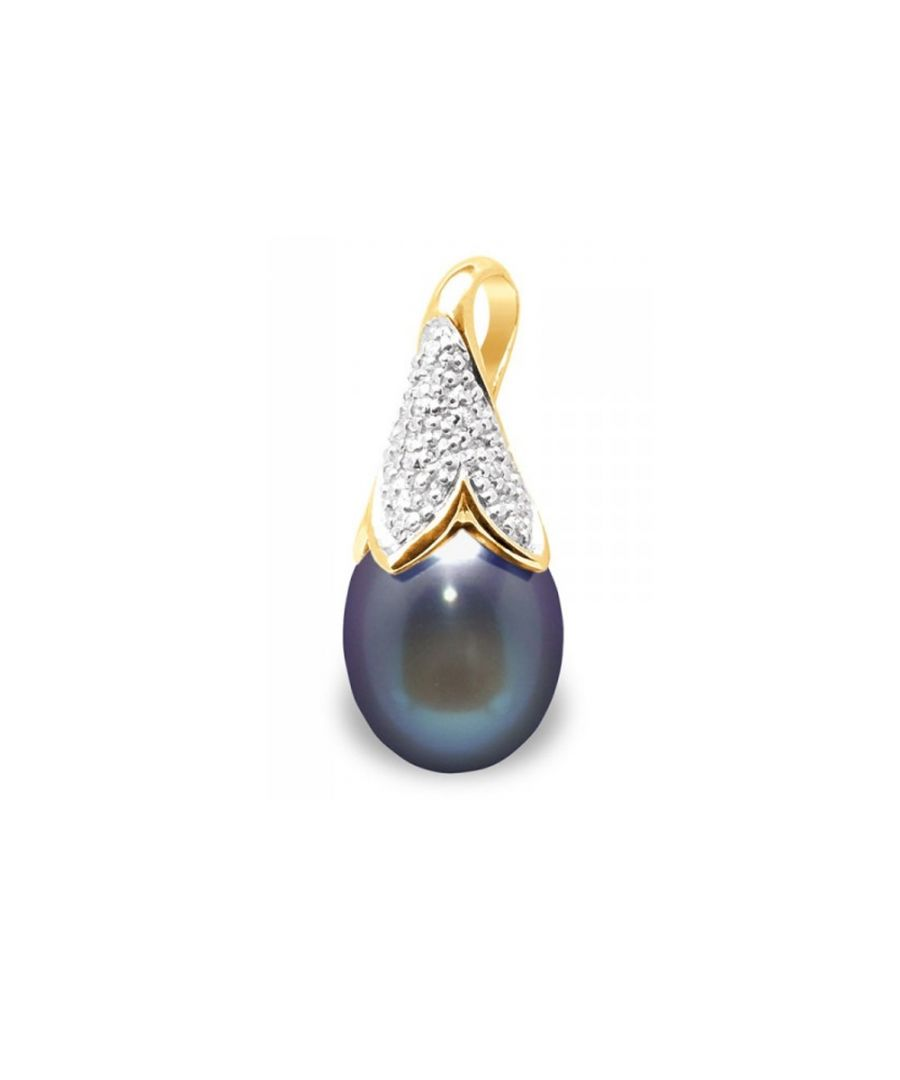 Image for Black Freshwater Pearl, Diamonds Pendant and Yellow Gold 750/1000