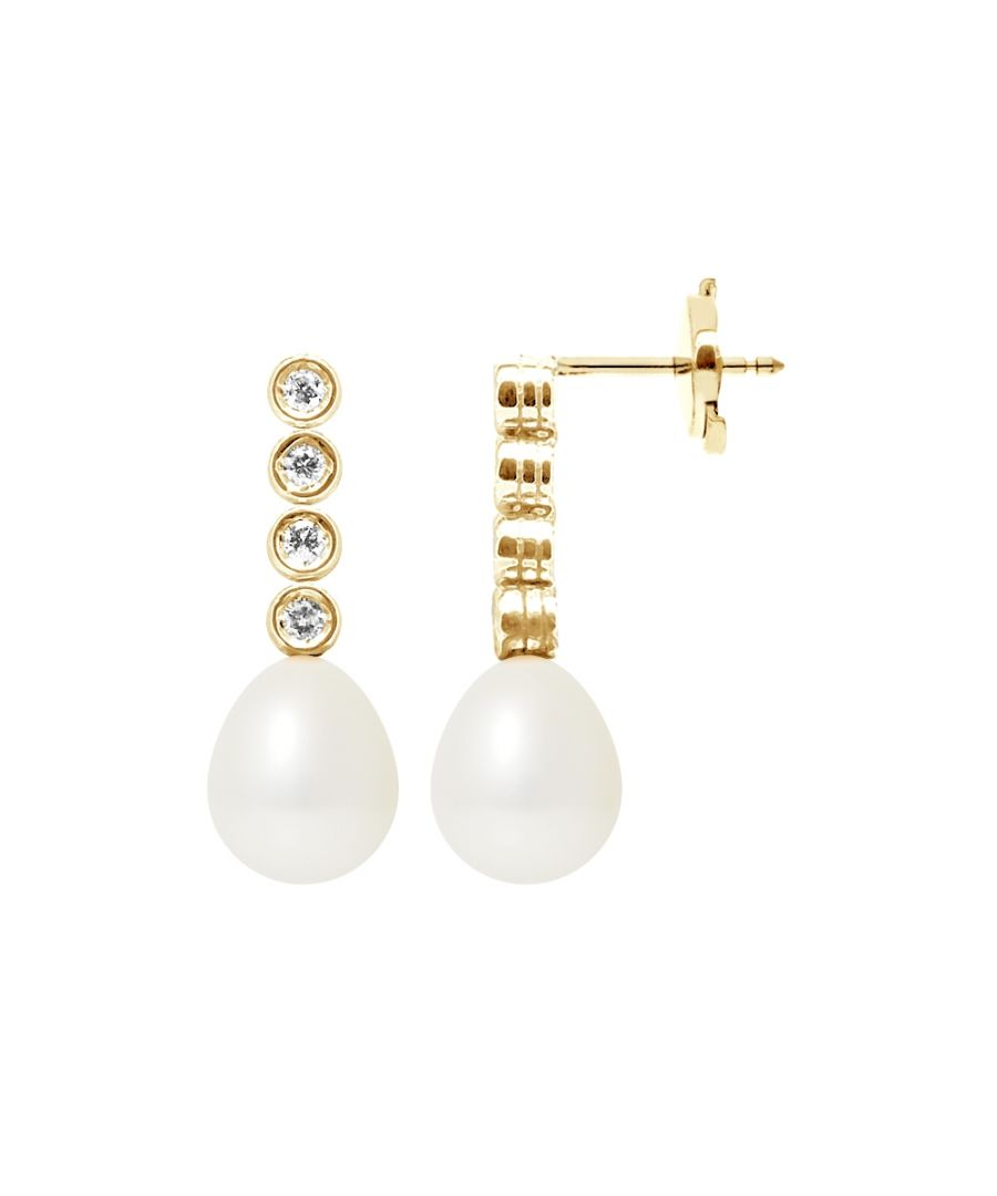 Image for White Freshwater Pearls, Diamonds Dangling Earrings and yellow gold 750/1000