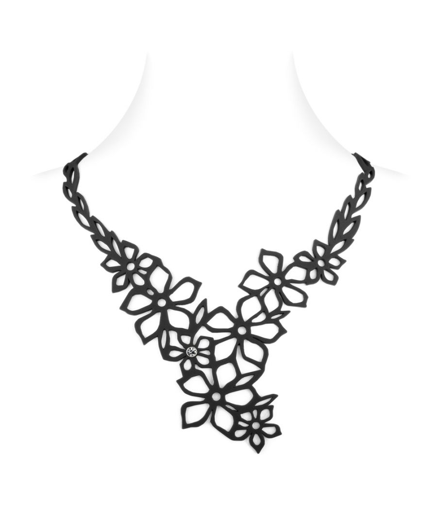 Image for Black Silicone Gum Tiare Flower Necklace Effect Tatto