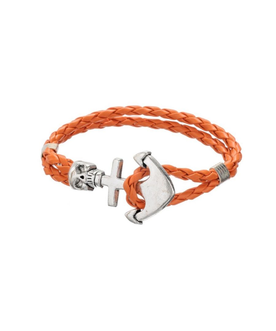 Image for Orange Braided Leather Anchor and Skull Stainless Steel Man Bracelet