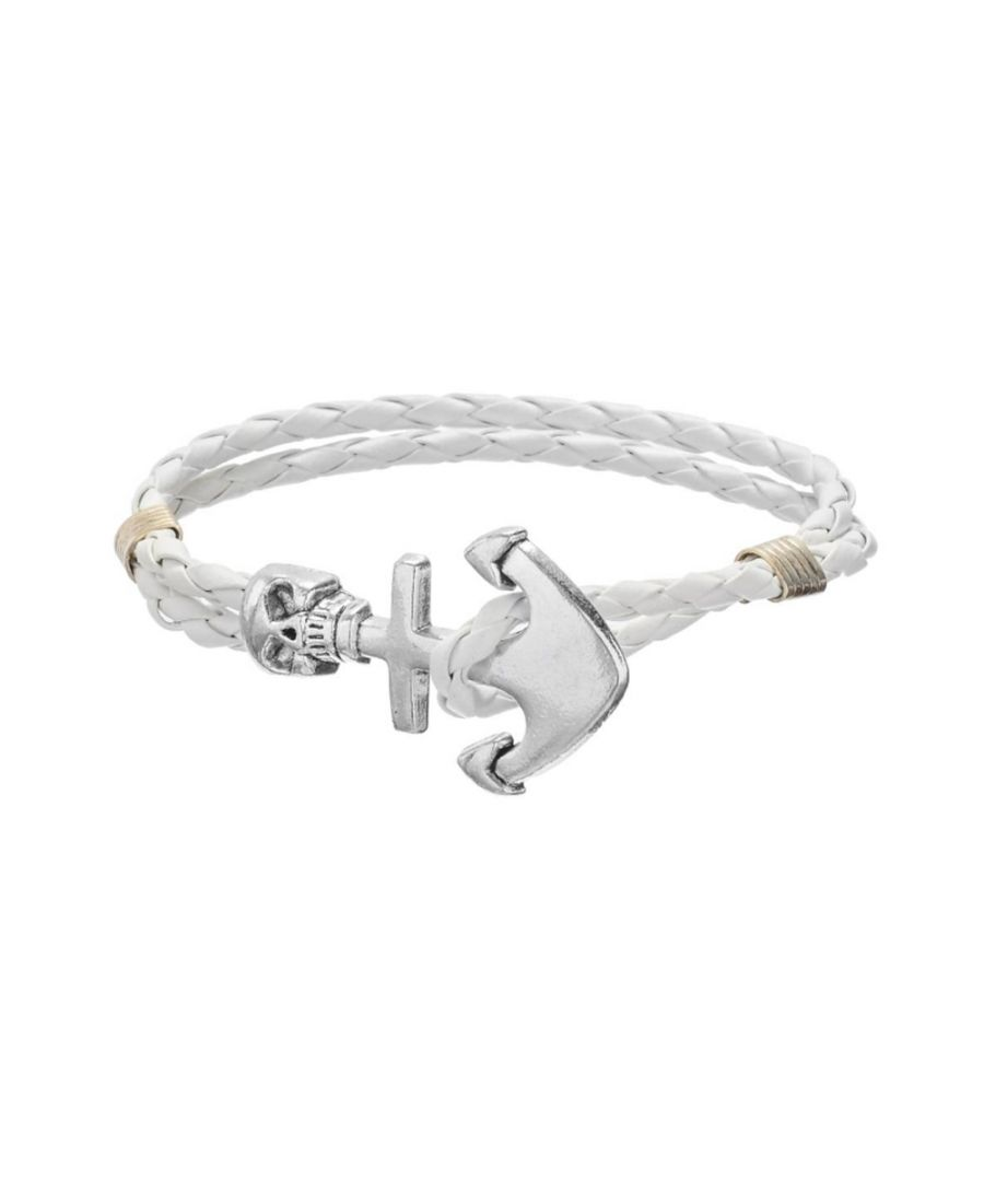 Image for White Braided Leather Anchor and Skull Stainless Steel Man Bracelet