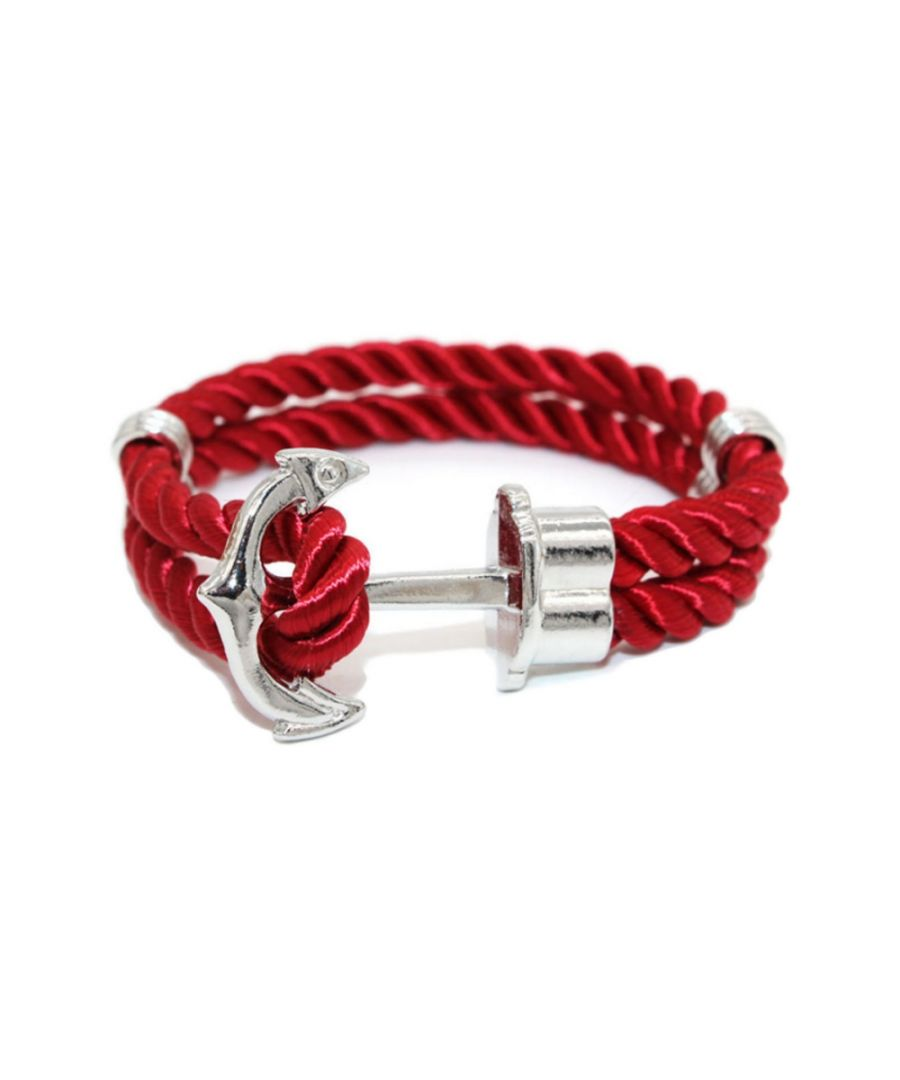 Image for Red Satin Cloth and Anchor Stainless Steel Man Bracelet