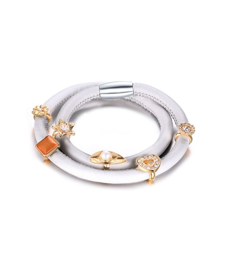 Image for White Leather Charm's Double Row Bracelet and Beads