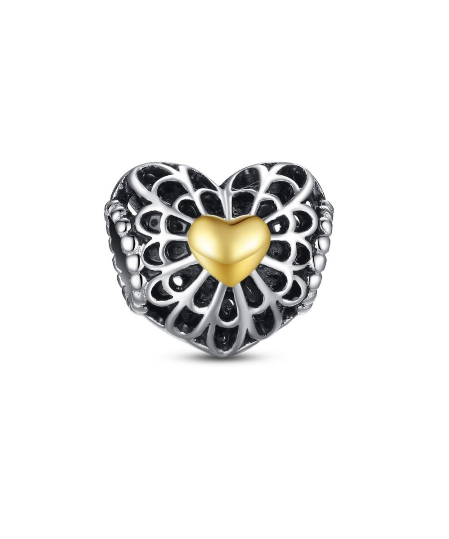 Image for Heart Carved Charms Bead and Little Golden Heart