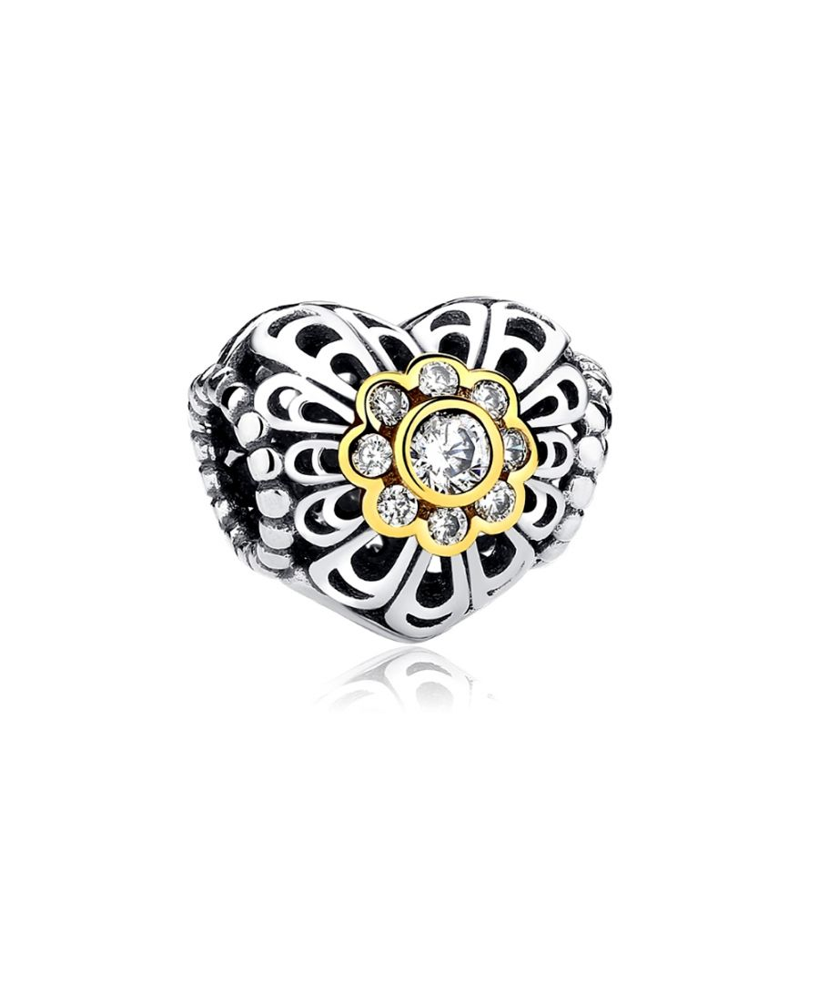 Image for Heart Carved Charms Bead and Golden Flower and Crystal
