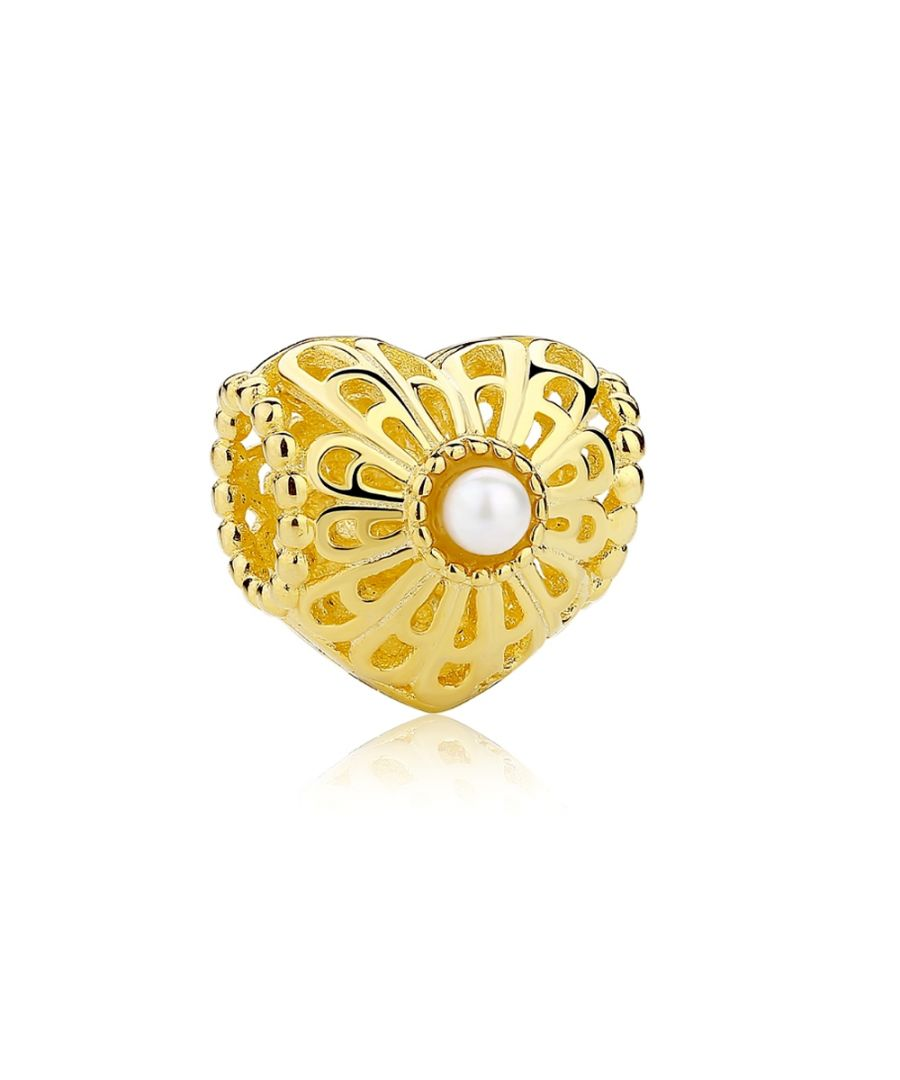 Image for Golden Heart Carved Charms Bead and White Pearls