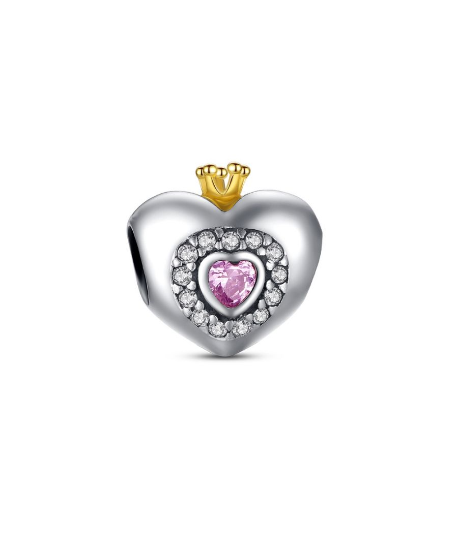 Image for 925 Silver Heart Charms Bead and Pink Crystal