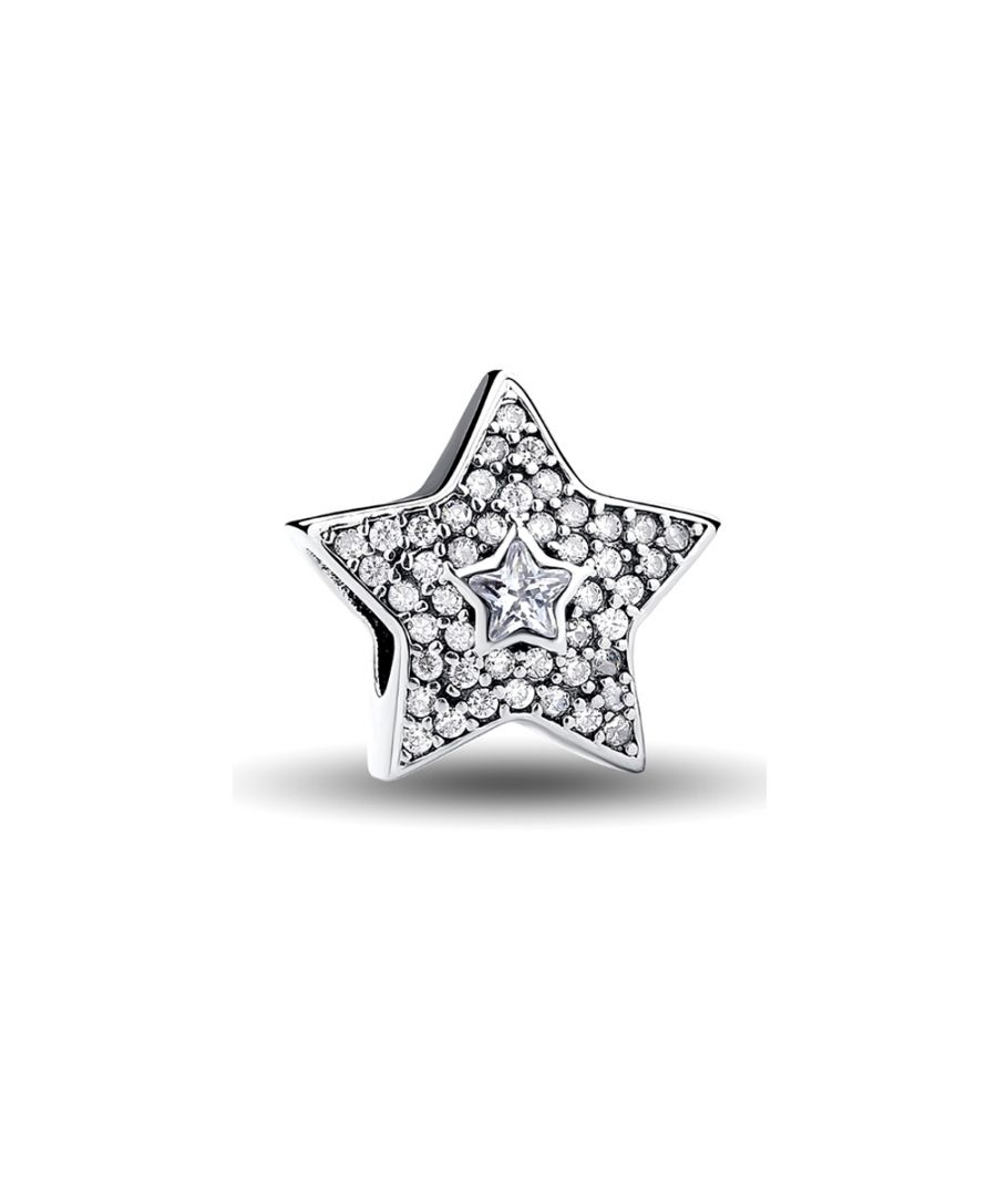 Image for White Crystal Star 925 Silver Beads
