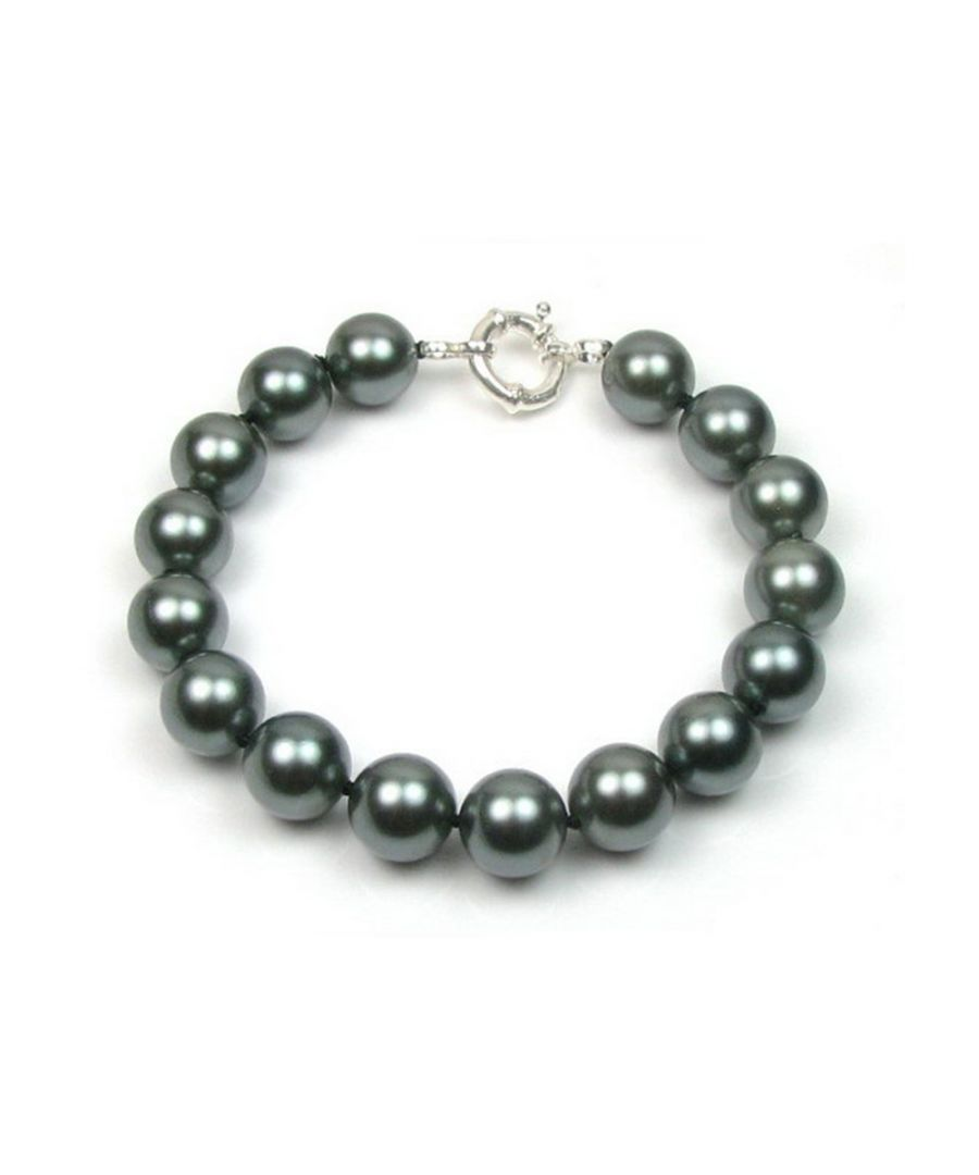 Image for Black Simulated Pearls in mother of pearl Bracelet and Silver 925