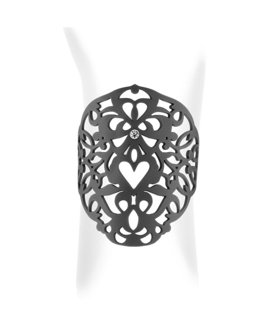 Image for Black Silicone Gum Heart Cuff Bracelet Effect Tatto