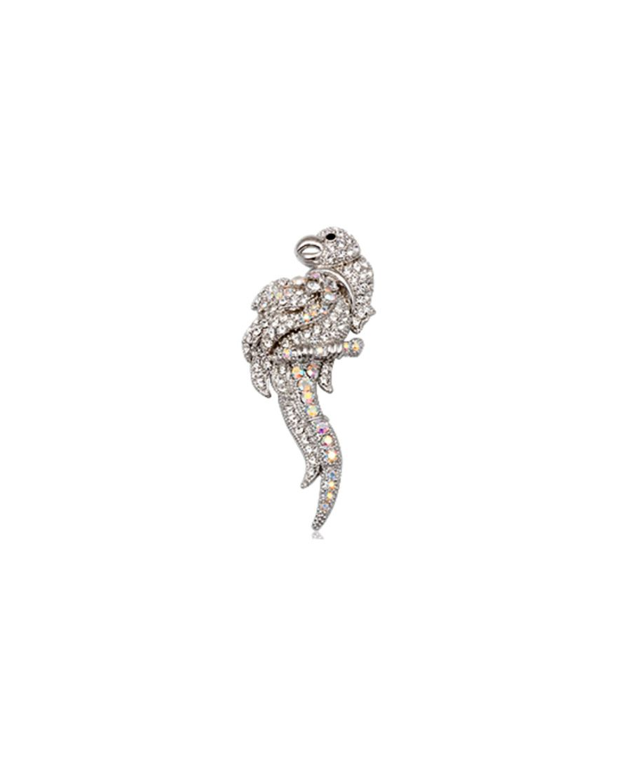 Image for White Crystal Parrot Brooch and Rhodium plated