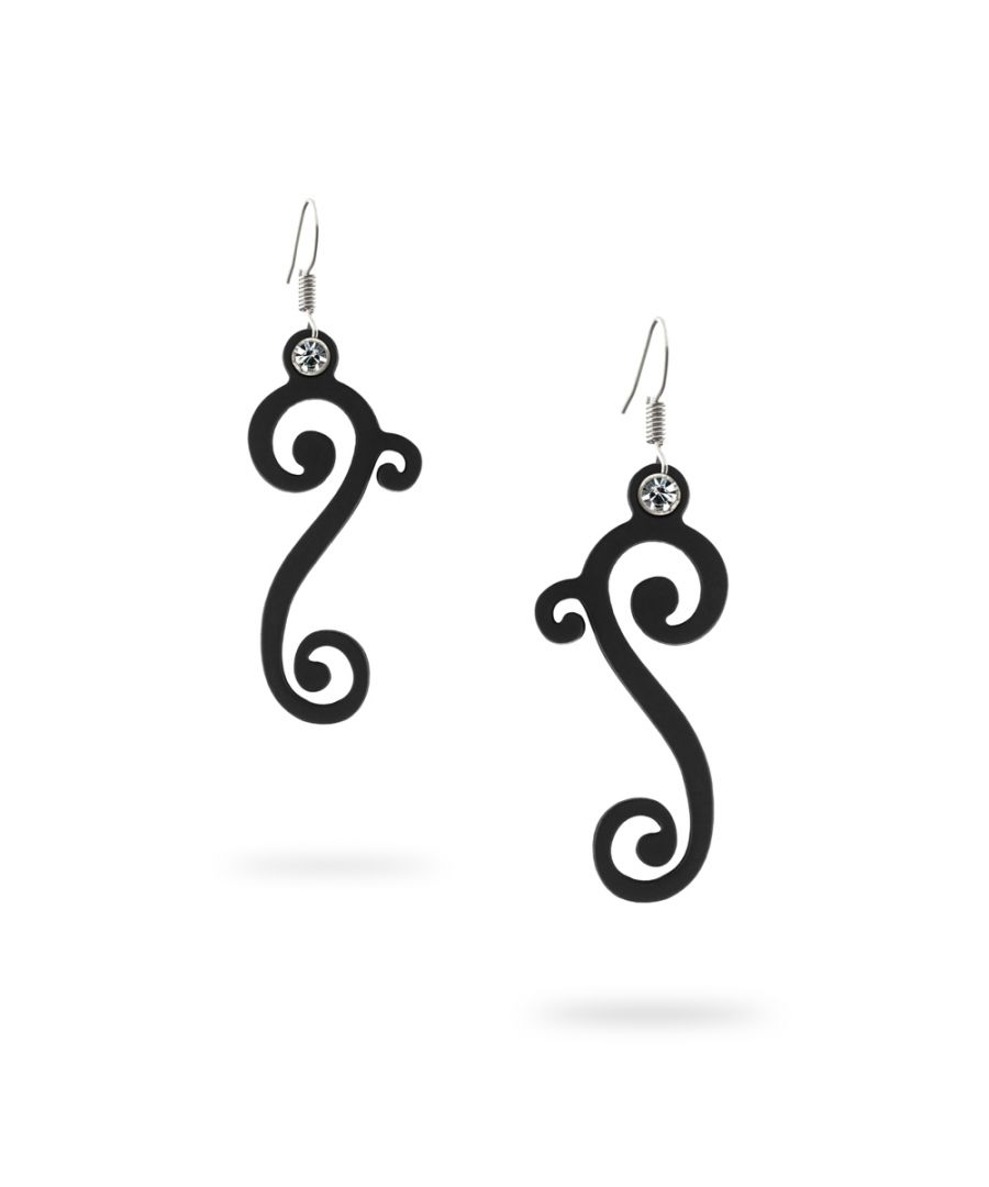 Image for Black Silicone Gum Waves Dangling Earrings