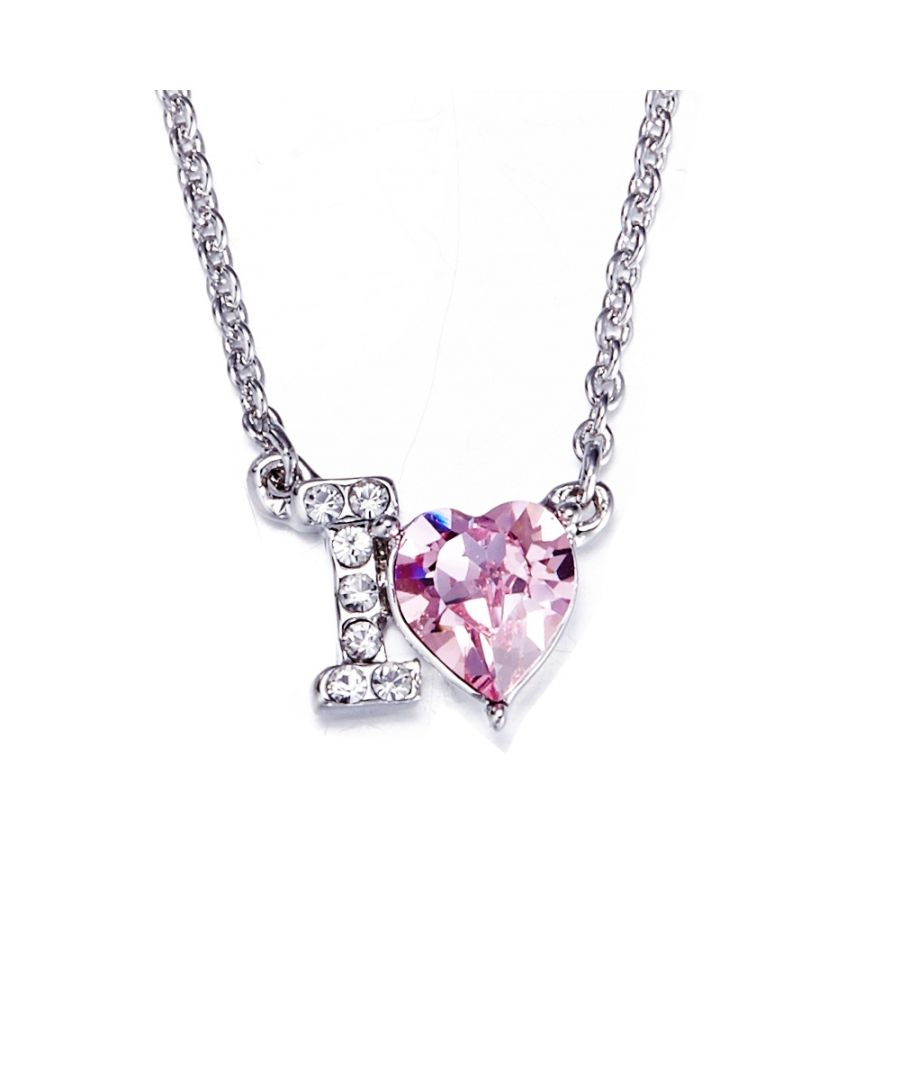 Image for Swarovski - Pink Swarovski Crystal Elements I Love You Necklace
