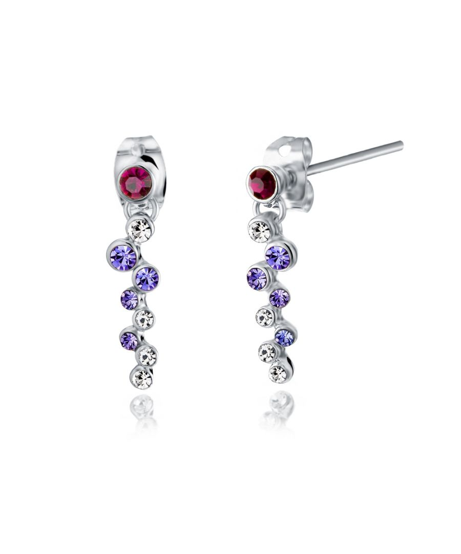 Image for Swarovski - Purple Swarovski Crystal Elements Dangling Earrings and Rhodium Plated