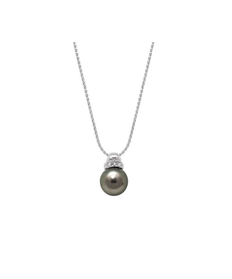 Image for Black Tahiti Pearl, Diamonds Necklace and White Gold 750/1000