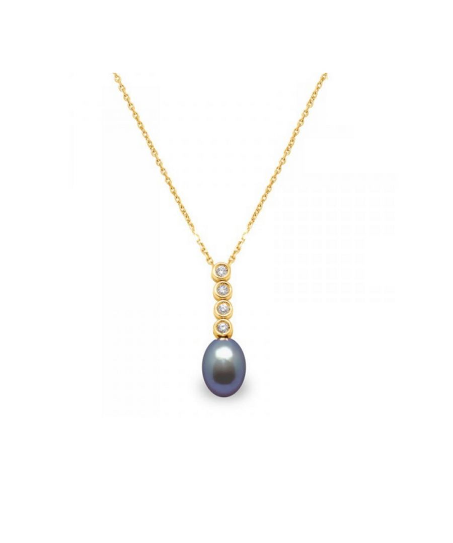 Image for Black Freshwater Pearl and Diamonds Pendant and Yellow Gold 750/1000
