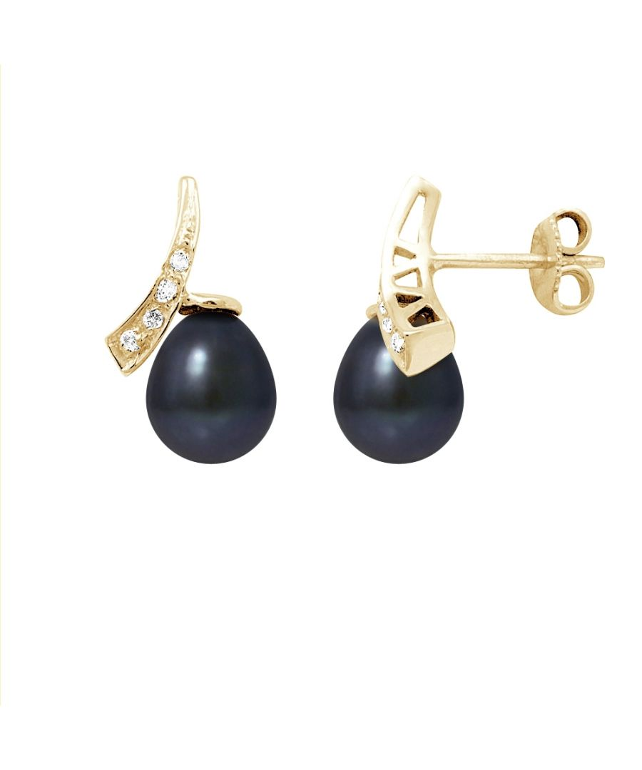 Image for Black Freshwater Pearls, Diamonds Earrings and yellow gold 750/1000