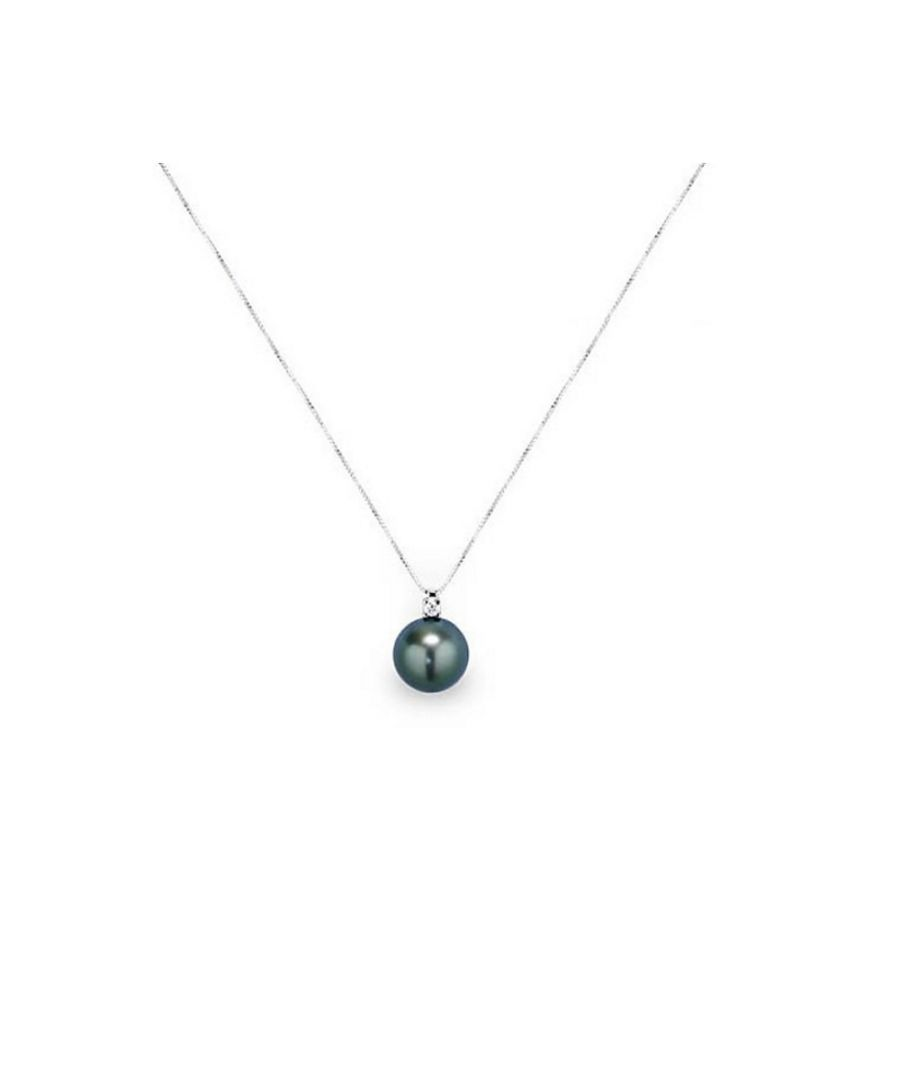 Image for Black Tahitian Pearl and Diamonds Pendant and White Gold 750/1000