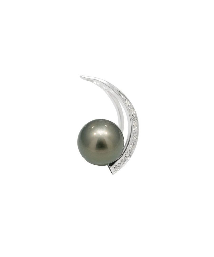 Image for Black Tahitian Pearl, Diamonds Pendant and Sterling Silver 925/1000