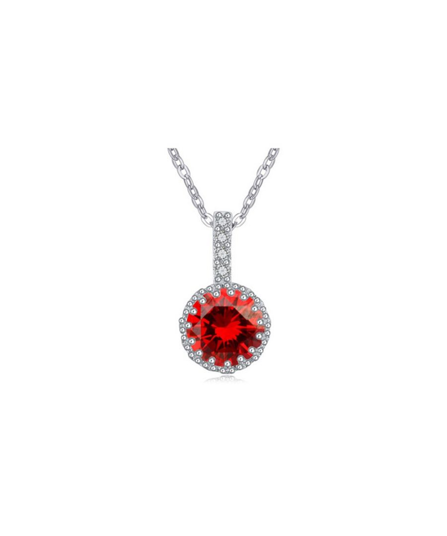 Image for Red Cubic Zirconia Crystal Pendant and Rhodium Plated