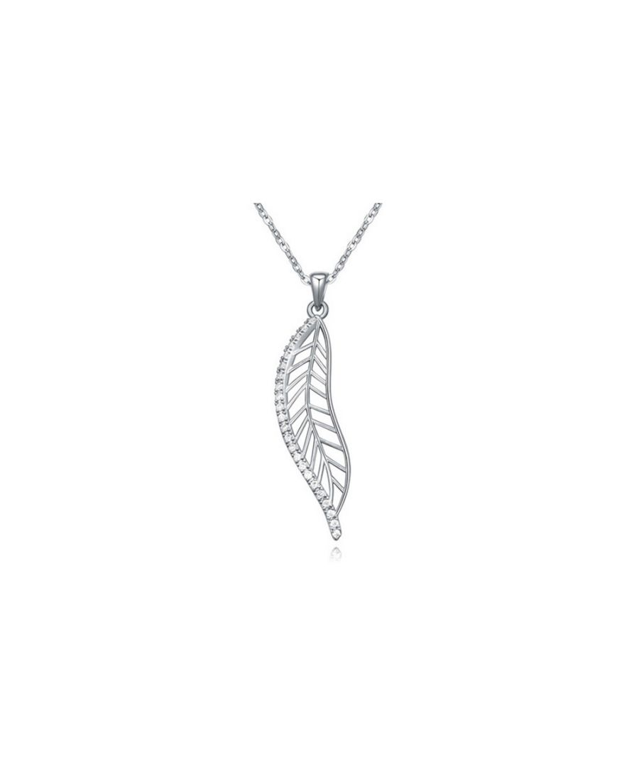 Image for White Cubic Zirconia Crystal Feather Pendant and Rhodium Plated