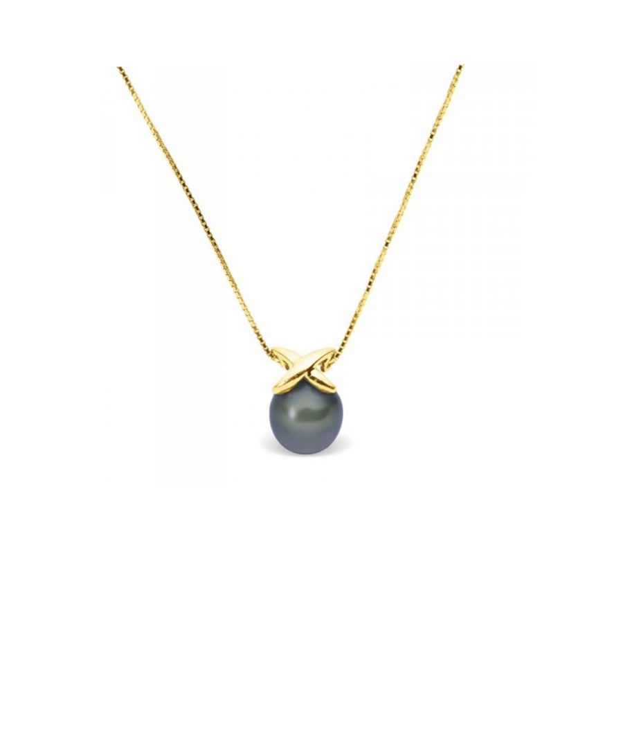 Image for Black Freshwater Pearl Necklace and Yellow Gold 375/1000