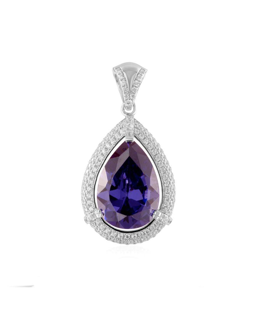 Image for Swarovski - Purple and 198 White Swarovski Zirconia crystal and 925 Silver Pendant