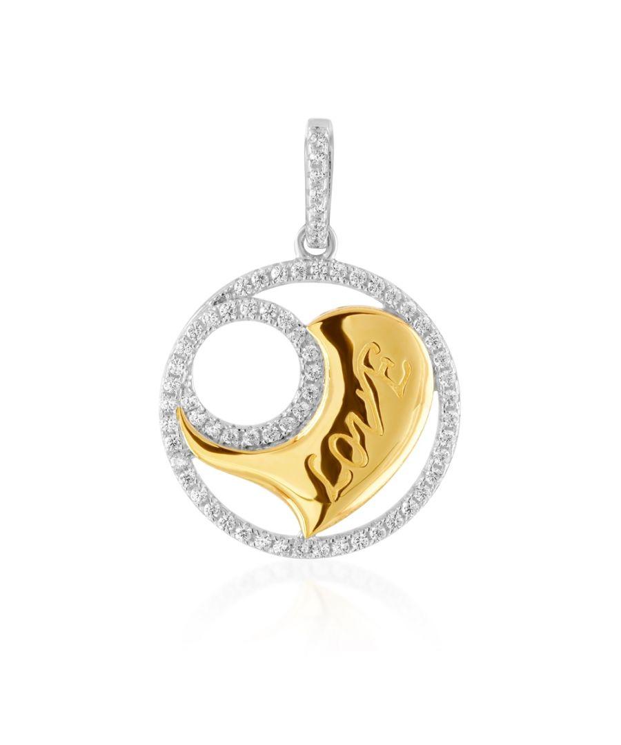 Image for Swarovski - 66 White Swarovski Crystal Zirconia and 925 Silver and Gold Heart Pendant