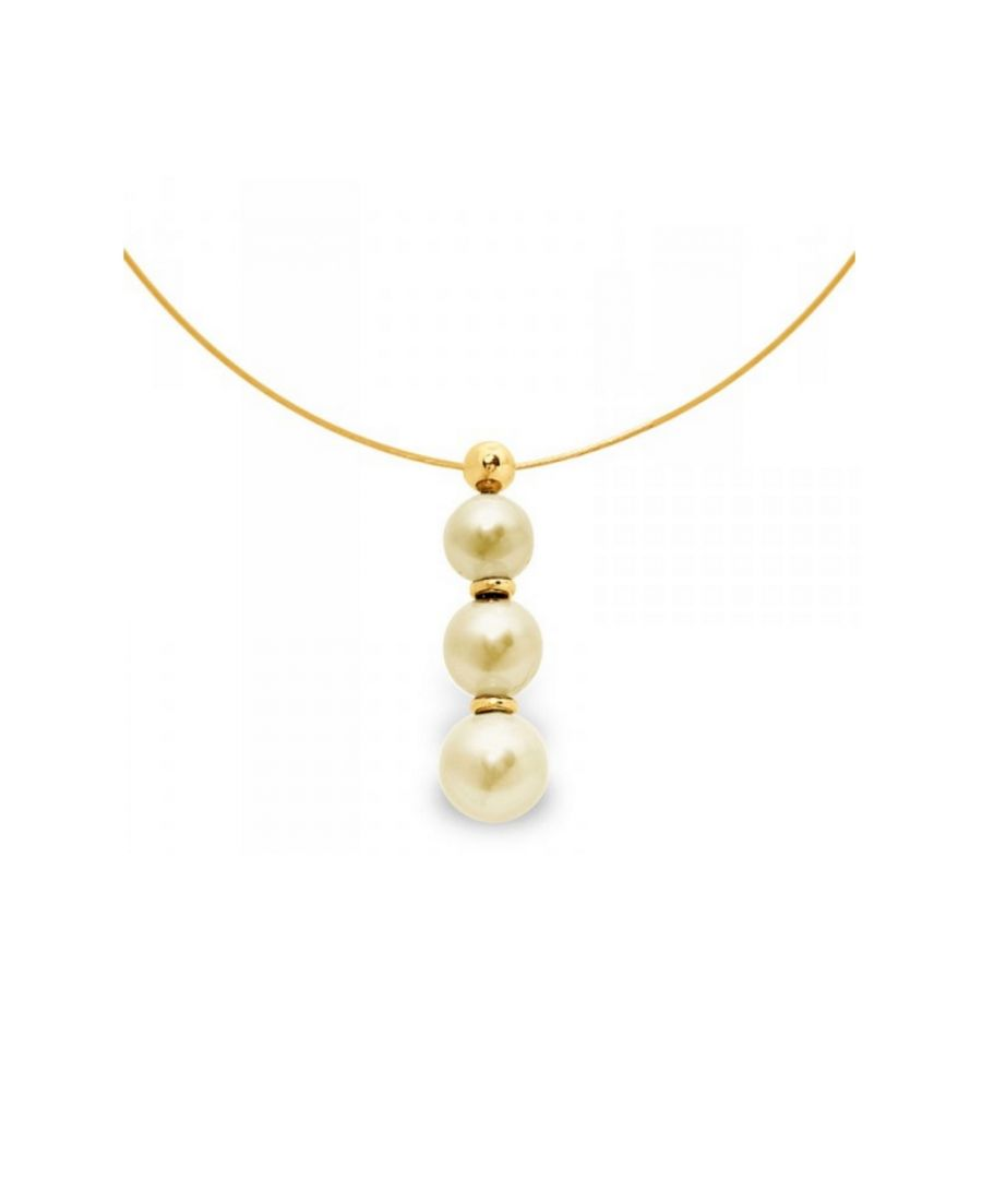 Image for 3 Golden Freshwater Pearls Cable Necklace and Yellow Gold 750/1000