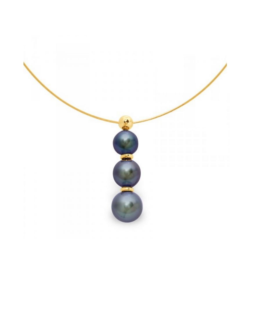 Image for 3 Black Freshwater Pearls Cable Necklace and Yellow Gold 750/1000