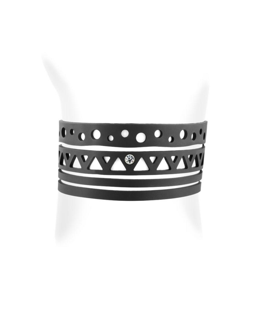 Image for Black Silicone Gum Ethnic Bracelet Effect Tatto