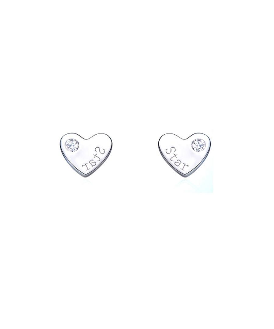 Image for Swarovski - White Swarovski Crystal Elements Hearts Earrings and 925 Silver