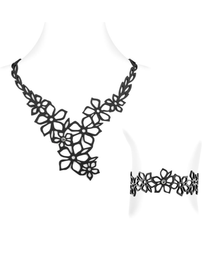 Image for Black Silicone Gum Tiare Flower Necklace and Bracelet Set Effect Tatto