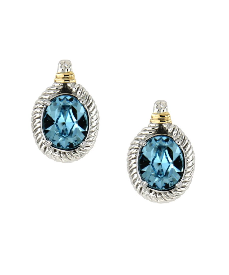 Image for Swarovski - Blue Swarovski Elements Crystal and 925 Silver Earrings
