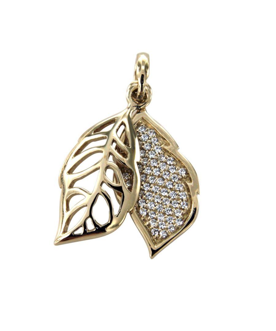 Image for Swarovski - White Swarovski Crystal Elements and 925 Silver and Gold leaf Pendant