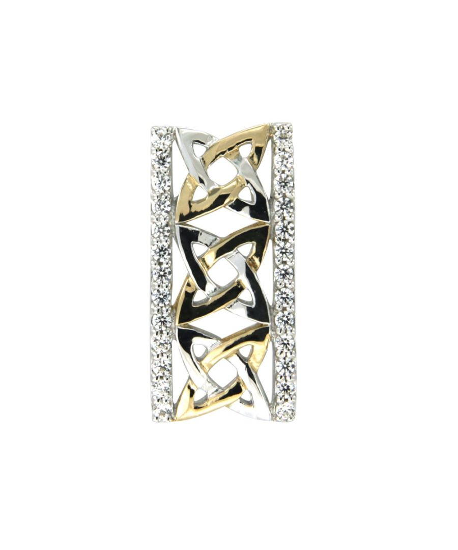Image for Swarovski - White Swarovski Crystal Elements and 925 Silver and Gold Rectangle Pendant