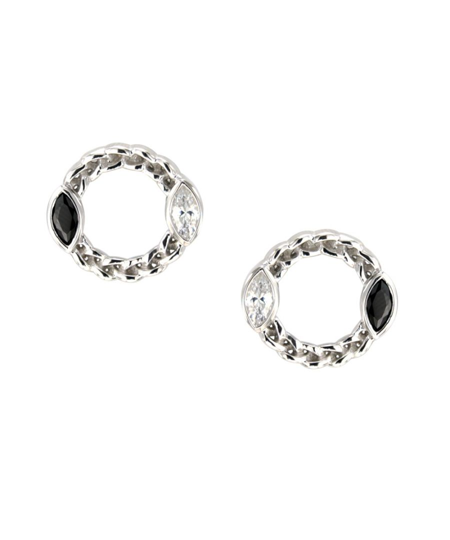Image for Swarovski - White and Black Swarovski Crystal Elements and 925 Silver circle Earrings