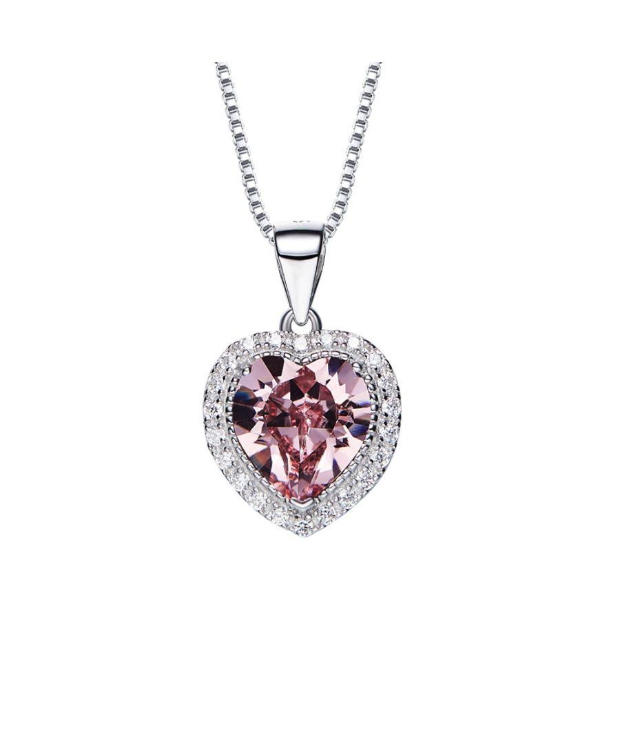Image for Swarovski - Clear Pink and White Swarovski Crystal Elements Heart Pendant