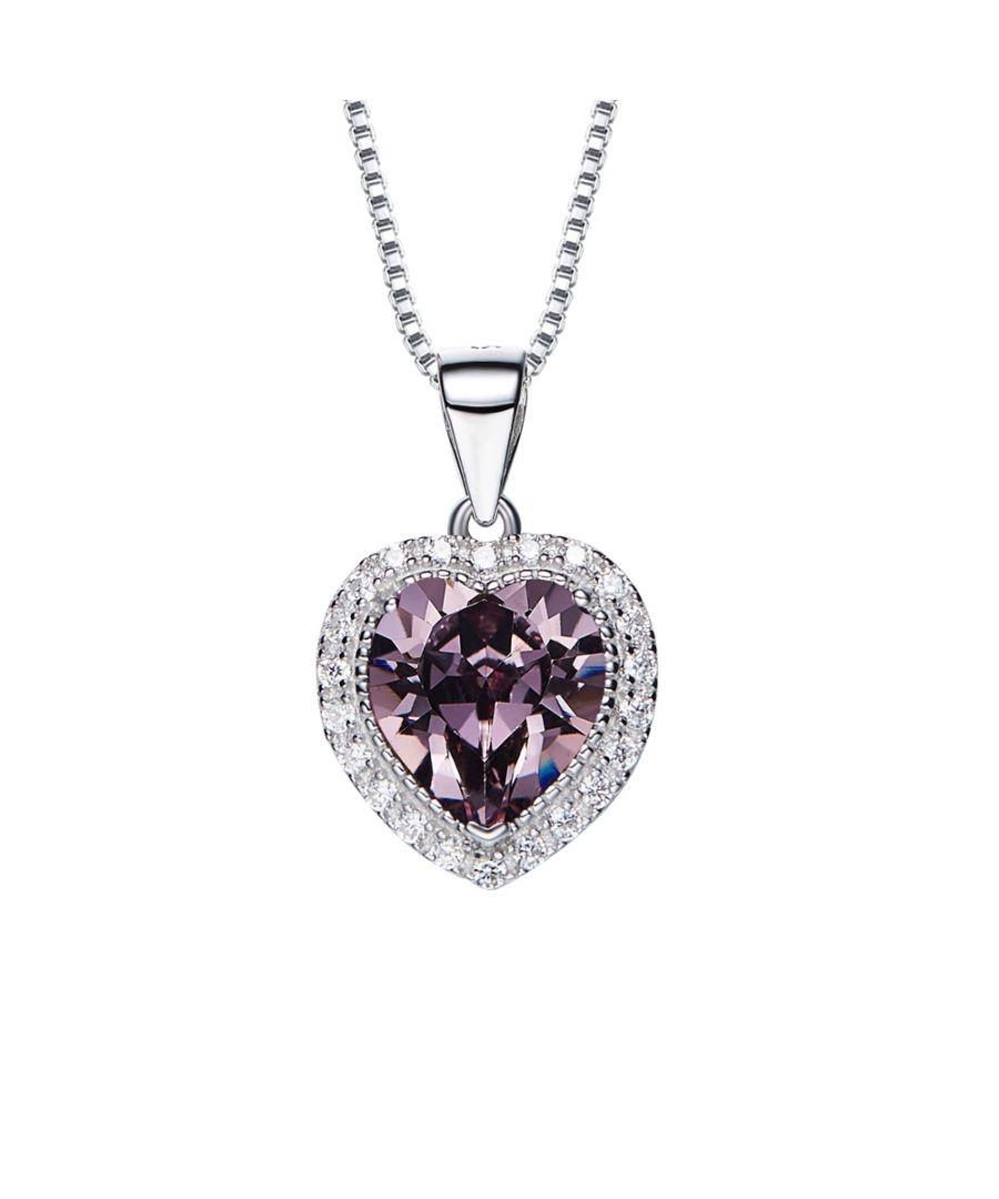 Image for Swarovski - Purple and White Swarovski Crystal Elements Heart Pendant