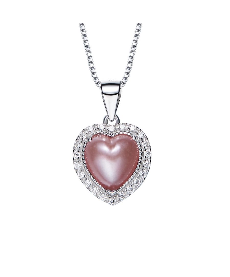 Image for Swarovski - White Mother of pearl and Pink Swarovski Crystal Elements Heart Pendant