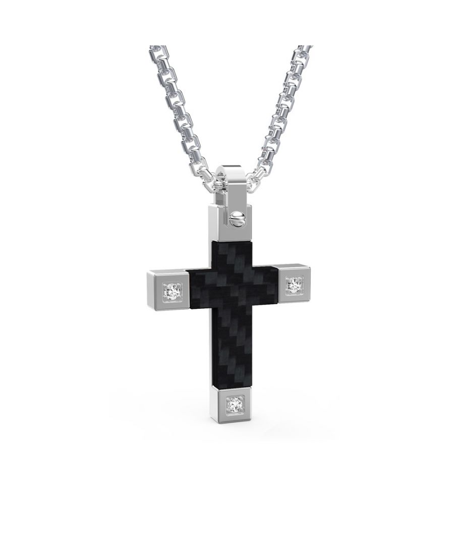 Image for Black Carbon Cross, Stainless steel and Cubic Zirconia Men Pendant