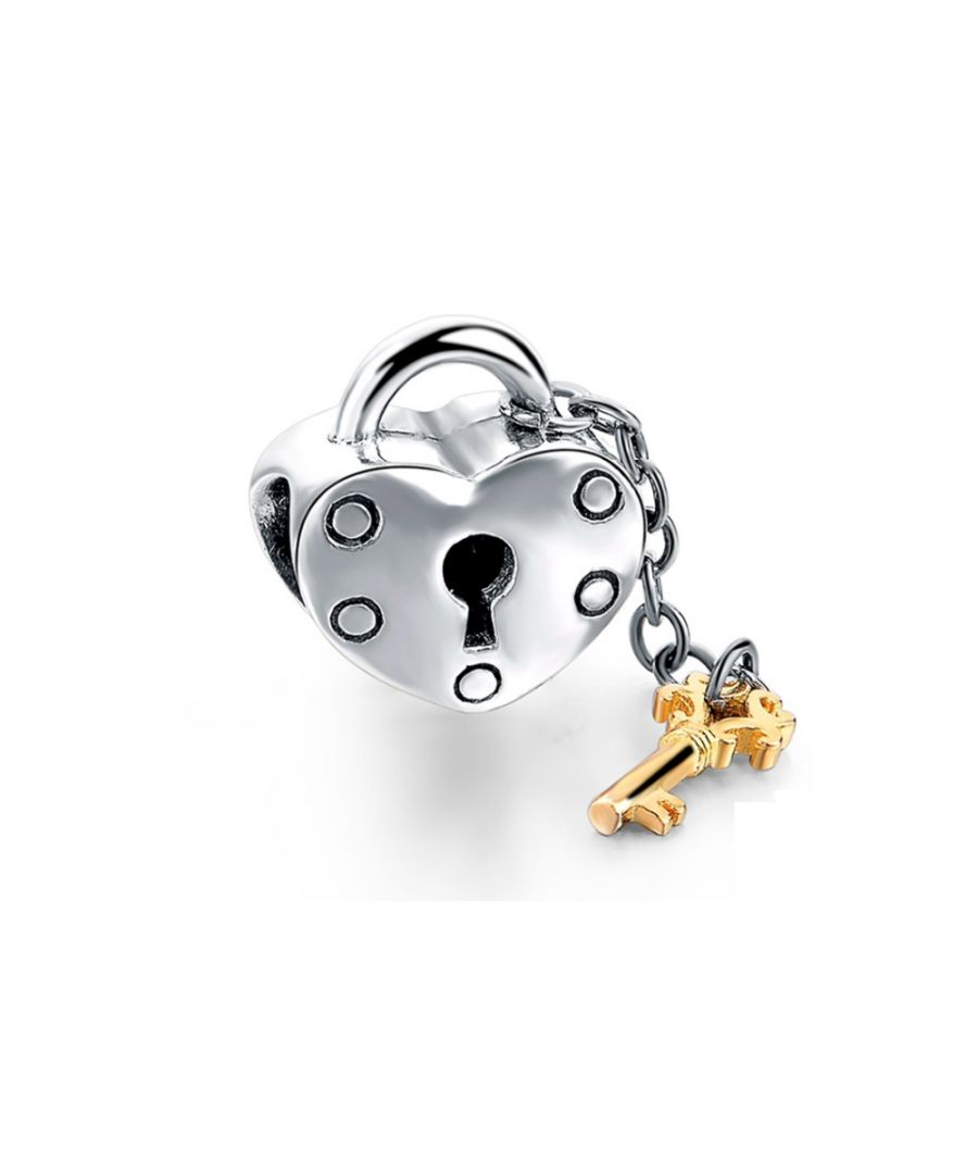 Image for 925 silver Heart gold key Charms Beads