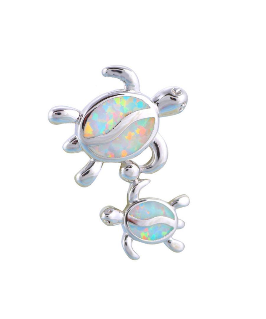 Image for Opal Turtles Pendant and Silver Plated