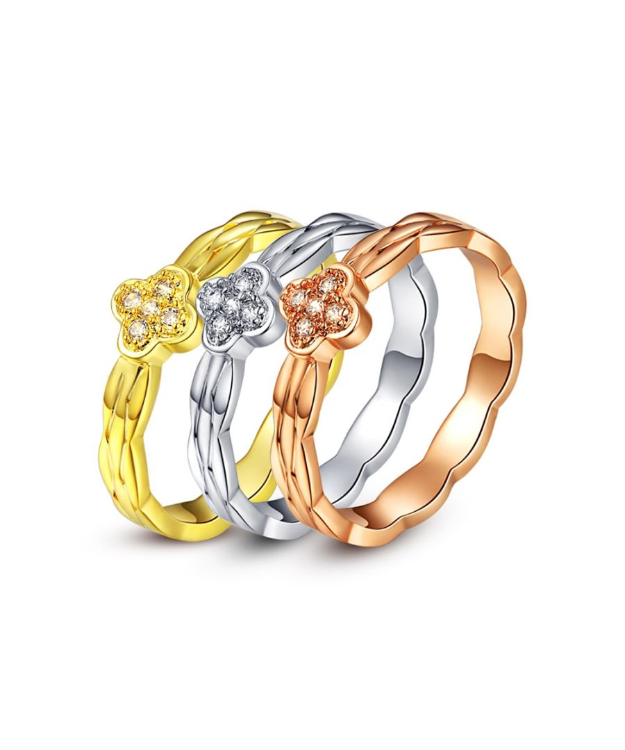 Image for Swarovski - Ring 3 Solitaire Alliances 3 Golds and White Crystal of Swarovski Elements