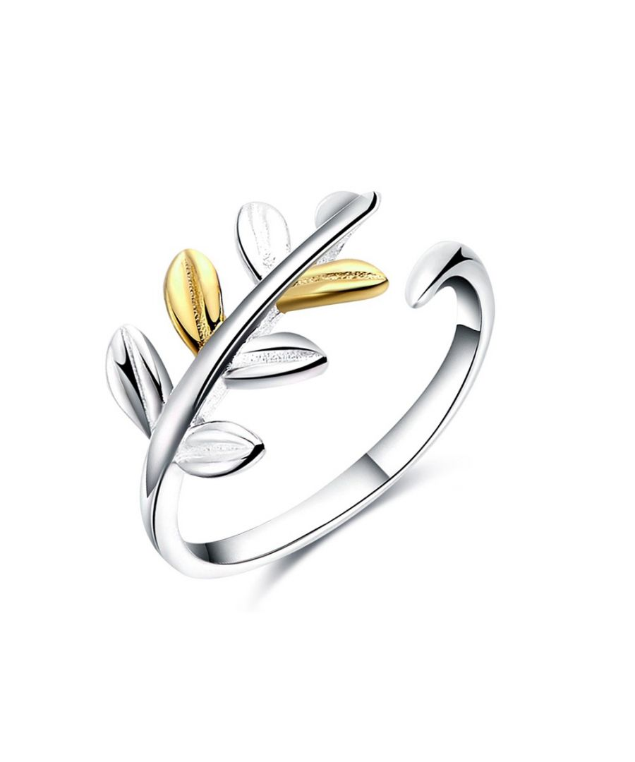 Image for Yellow Gold Plated and White Gold Plated Leaf Ring