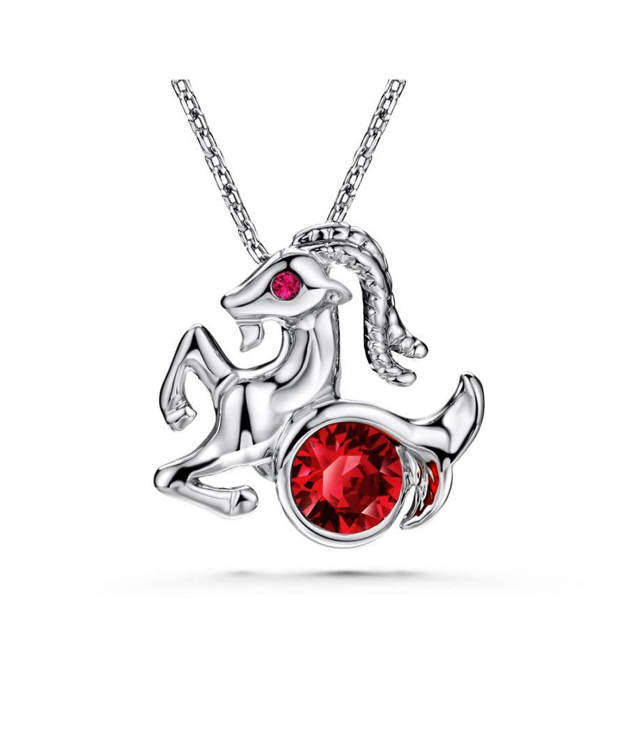 Image for Swarovski - Red Swarovski Elements Crystal Capricorn Pendant